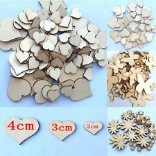 50Pcs  Sizes Sewing Craft Scrapbooking Wood Flower Butterfly Heart Buttons