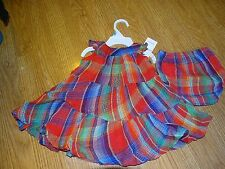 Ralph Lauren Baby Girls Tiered Madras Plaid Dress Set Size 6 Months/9 Months