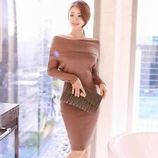 Sexy Women off Shoulder Slim Casual Knitwear Party Evening Short Mini Dress