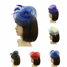 New Feather Flower Net Fascinator Hair Clip Ladies Headband Weddings Races Prom