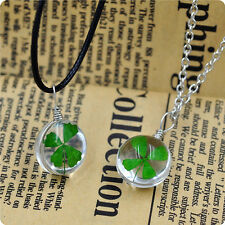 Real Green Lucky Shamrock Four Leaf Clover Round Pendant Necklace Jewelry