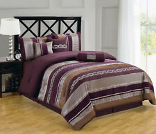 Claudia Purple 7-Piece Comforter Set Includes Comforter Skirt Shams and Pillows