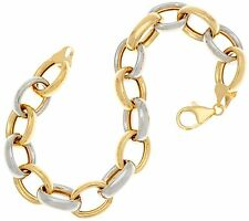 QVC Polished Shiny Oval Rolo Link Bracelet Real 14K Yellow White Two-Tone Gold