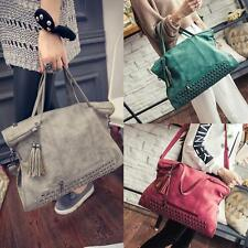 Women Rivet Handbag Messenger Bag Shoulder Tassel Bag Big Bags 4 Colors