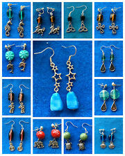 Tibetansilver charm dangle earring with glass beads