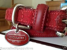 NEW COACH SIGNATURE RED EXTRA SMALL SMALL DOG COLLAR XS S  CLASSIC RED SIGNATURE