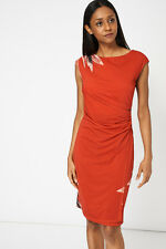 NEW WOMENS Ladies  BURNT ORANGE RUCHED FRONT DRESS WITH FLORAL PRINT sizes 10 16