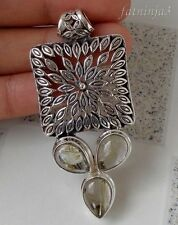 Gemstone Solid Silver, 925 Balinese Chain Leaf Filigree Pendant 31687