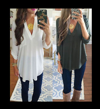 LADYS CHIFFON Loose T shirt Blouse lady Casual Long Sleeve Tops Shirt plus size