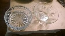 "2 x VINTAGE LARGE CLEAR PRESSED GLASS FRUIT BONBON TRIFLE BOWLS DISHES  9""&8"""