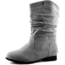 Women Ankle High Slouch Mid Calf Round Toe Tone Western Cowboy Riding Boots