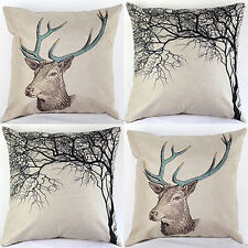Vintage Stag Tree Deer Print Linen Throw Pillow Case Cushion Cover Decor Novelty