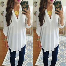 lady Casual Long Sleeve Tops Shirt plus size LADYS CHIFFON Loose T shirt Blouse