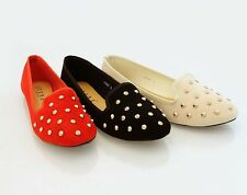 LADIES SUEDE FLAT STUDDED SLIPPERS WOMENS LOAFERS SLIP ON PUMPS SHOES SIZE 3-8 H