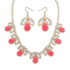 Colorful Leave Shape Lady Rhinestones Pendant Necklace Earrings Jewelry Sets
