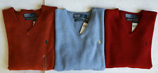 $98 NWT Mens Polo Ralph Lauren V-Neck Lambs Wool Sweater Italian Yarn Orange M L