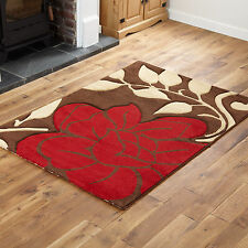 Quality Brown Red Thick Floral Design Carved Modern Small X Large Rugs Runner