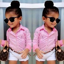New Baby Kids Girl's Two-piece Cute Stripe Shirt and Solid Shorts CO9902