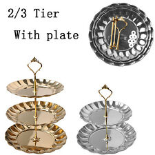 2/3 Tier Crown Cupcake Fruits Desserts Wedding Party Food Cake Stand With Plate