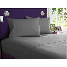 1200TC EGYPTIAN COTTON BEDDING COLLECTION-DUVET/FITTED/FLAT ELEPHANT GREY SOLID