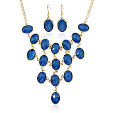 Acrylic Women Charm Pendant Necklace Lady Enamel Matching Earrings Jewelry Sets