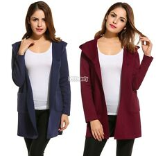 New Women Casual Hooded Long Sleeve Solid Knit Cardigan Sweaters B5UT