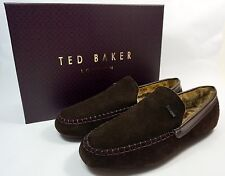 Ted Baker NEW Moriss Men's Leather Suede Moccasin Slippers Brown Size 9 10 11