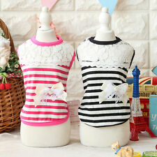 Striped Lace Dog Shirt Vest Small Pet Puppy Clothing Cat Doggie Jumper Chihuahua