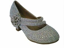 Link girls silver glitter rhinestone ankle strap kitten heel pageant pumps