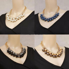 Fashion Jewelry Chain Crystal Pearl Choker Cluster Chunky Statement Bib Necklace