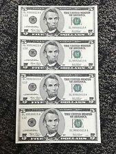 UNCUT 2003A  4 $5 FIVE DOLLAR  SHEET OF BILLS UNCIRCULATED