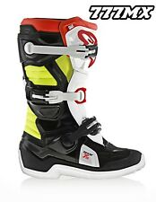 ALPINESTARS TECH 7S BOOTS MOTOCROSS MX YOUTH KIDS BLACK/RED/YELLOW UK 2