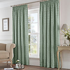 Jacquard Lined Curtains Pencil Pleat Eastbourne Duck Egg