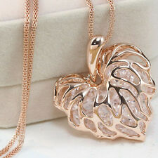 New Fashion Ladies Elegant Gold Silver Hollow Heart Pendant Long Chain Necklace