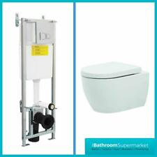 Toilet Wall Hung Mounted Bathroom Ceramic White Wall Hung Concealed Cistern