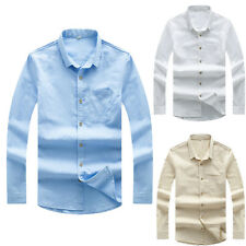 Mens Cotton Linen Casual Shirts Long Sleeve Slim Fit Button Front 2017 Fashion