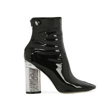 Womens Zip Sock Fit Shrine Sparkle Glitter Heel Ankle Boots in Black Patent 3-8