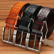 Men's retro Genuine Leather belt Cowhide Waistband Waist Strap Pin Alloy Buckle