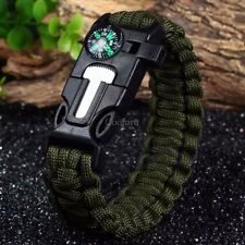 Survival Parachute Cord Bracelet Rope Flint Whistle Compass Outdoor Accessories