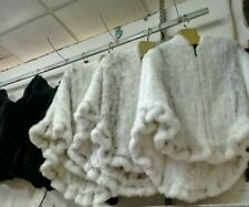 ON Sale Handmade Knitted Real Mink Fur cape Poncho With zipper Fur Coat Jacket