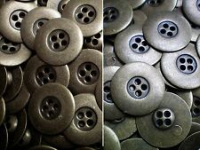 20mm 23mm Aged Brass Metal 4 Hole Industrial Costume Buttons (MB175-MB176)
