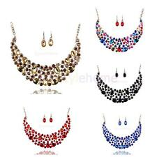 MagiDeal Elegant Bridal Wedding Party Shiny Crystal Necklace Earring Jewelry Set