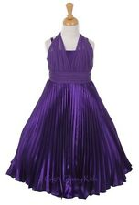 New Girls Purple Chiffon Satin Marilyn Monroe Style Dress Party Pageant 1225D