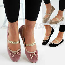 New Womens Flat Comfy Ballerinas Slip On Pumps Ballet Bow Studded Shoes Sizes