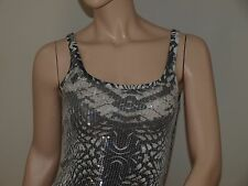 Armani Exchange Authentic Sequin Snake Print Tank Black NWT