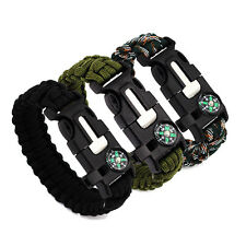Outdoor Rope Paracord Survival Bracelet Flint Fire Starter Compass Whistle BLACK