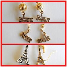 Paris France Eiffel Tower I love ParisTravel French icon hook earrings