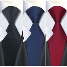Fashion Men Formal Silk Tie Jacquard Woven Wedding Party Necktie Set Solid Plain