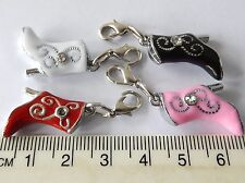 High heel charms enamel clip on, black, red, pink white boots rhinestones