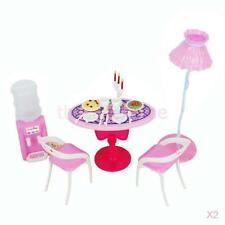 2x Dollhouse Dining Room Furniture Dining Table Playset Chairs Lamp for Barbie
